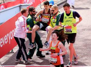 during the Virgin London Marathon 2013 on April 21, 2013 in London, England.